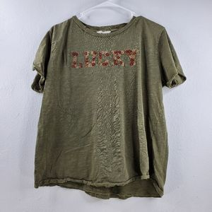 Lucky Brand Embroidered Crew Neck T-shirt